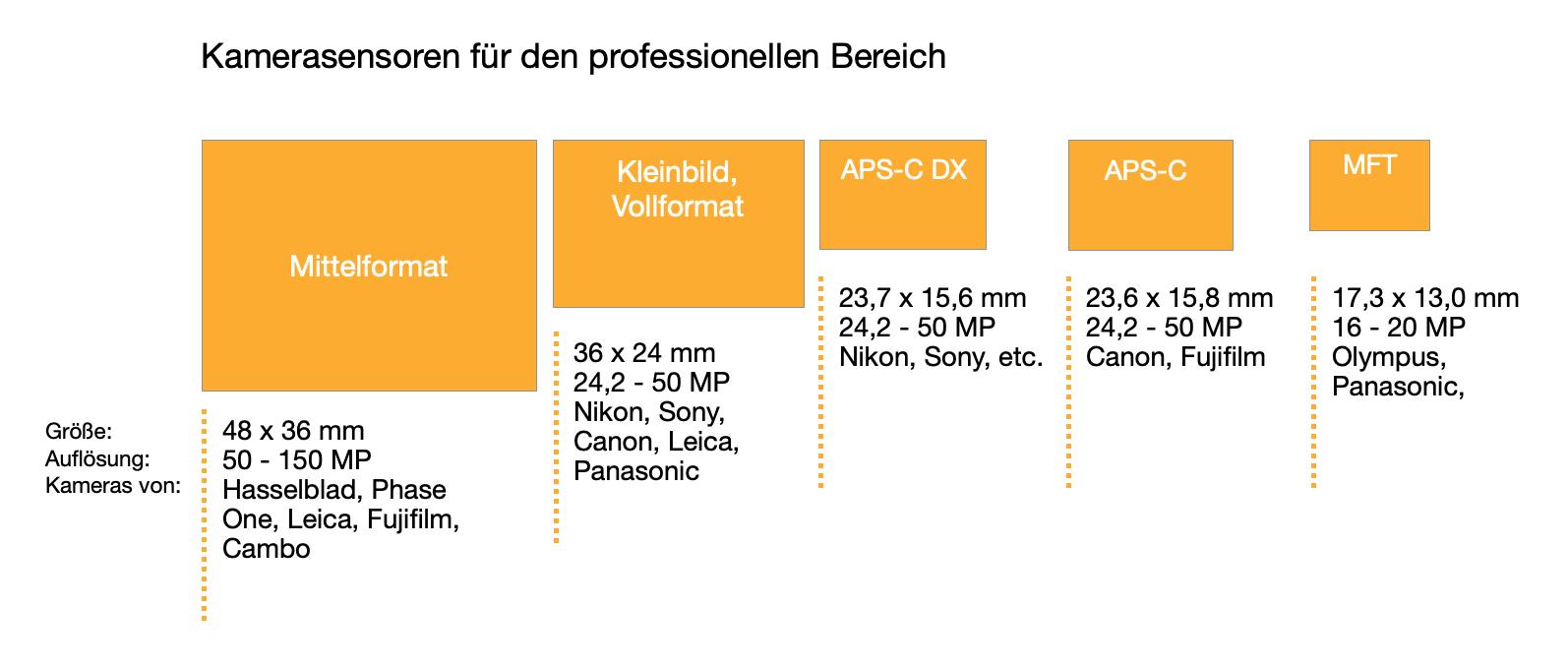 Vergleich von Sensorgrößen bei Digitalkameras